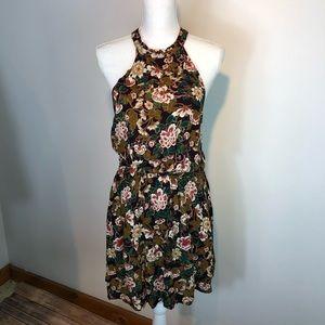 NWT AEO Halter Top Cinched Waist Floral Midi Dress